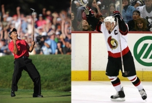 Are Tiger Woods and Daniel Alfredsson drinking the same Gatorade?